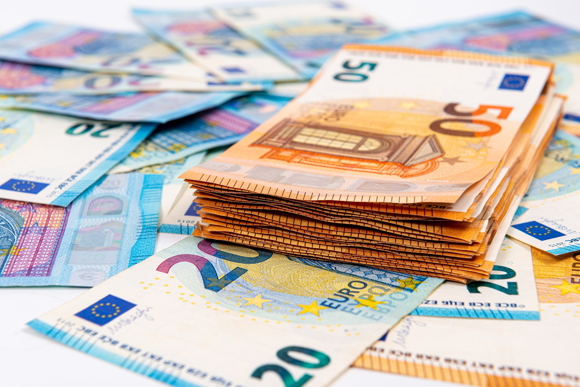 background from euro banknotes, Euro banknote as part of the economic and trading system, Close-up